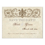 Vintage Peacock & Etchings, Save the Date Card Personalised Announcement