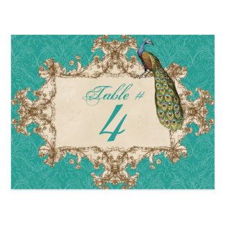 Vintage Peacock & Etchings, Table Number Card Post Cards