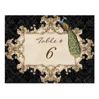 Vintage Peacock & Etchings, Table Number Card Postcards