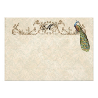 Vintage Peacock Etchings Thank You Note Cards Personalized Invitation