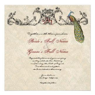 Vintage Peacock Etchings Wedding Invitation