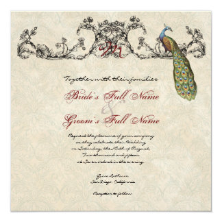 "Vintage Peacock & Etchings Wedding Invitation 5.25"" Square Invitation Card"