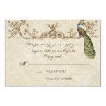 Vintage Peacock & Etchings Wedding RSVP Card 9 Cm X 13 Cm Invitation Card