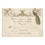 Vintage Peacock & Etchings Wedding RSVP Card Personalised Invitations