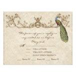 Vintage Peacock & Etchings Wedding RSVP Card Personalised Invitation