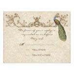 Vintage Peacock & Etchings Wedding RSVP Card Custom Invites