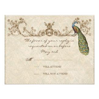Vintage Peacock & Etchings Wedding RSVP Card Custom Invitations