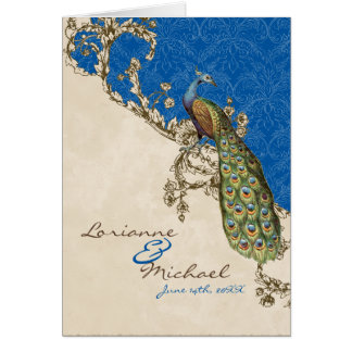 Vintage Peacock & Etchings Wedding Thank You Notes Cards