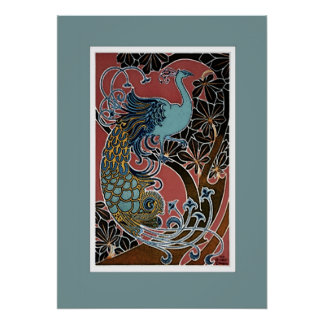 Vintage Peacock Exhibition Poster Print