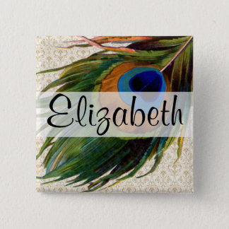 Vintage Peacock Feather 15 Cm Square Badge