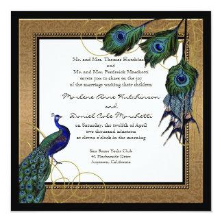 Vintage Peacock Feather 7 - Formal Elegant Wedding Card