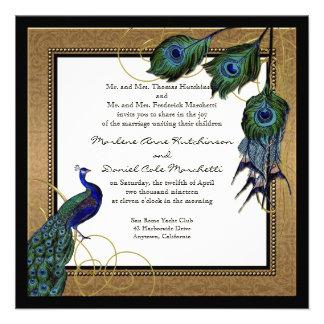 Vintage Peacock Feather 7 - Formal Elegant Wedding Custom Invitations