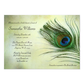 Vintage Peacock Feather Bridal Shower Invitations