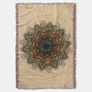 Vintage Peacock Feather Kaleidoscope Afghan Throw Blanket