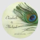 Vintage Peacock Feather Round Wedding Favour Label