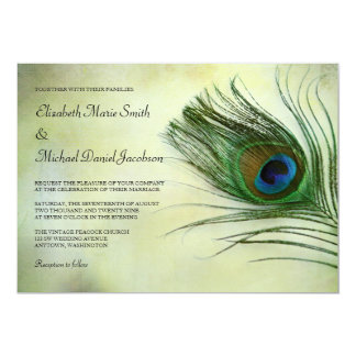 Vintage Peacock Feather Wedding Invitations Custom Announcement