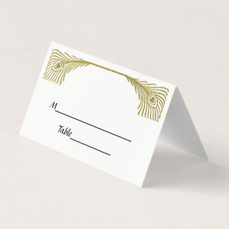 Vintage Peacock Feathers Faux Gold Escort Cards