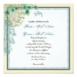 Vintage Peacock, Feathers n Etchings - Invitation 13 Cm X 13 Cm Square Invitation Card