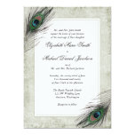 Vintage Peacock Feathers Wedding 13 Cm X 18 Cm Invitation Card