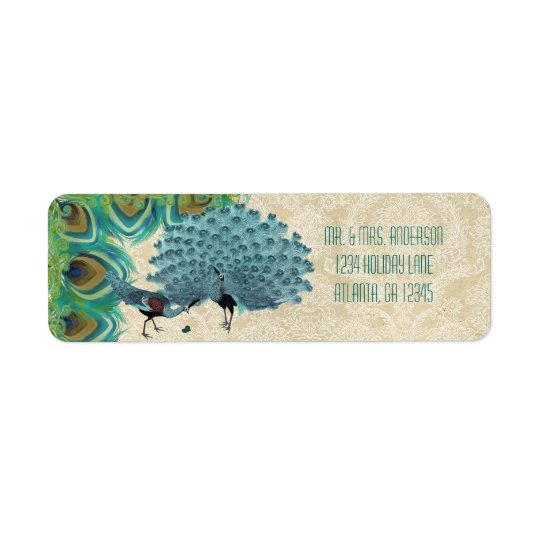 Vintage Peacock Feathers Wedding Lable Return Address Label