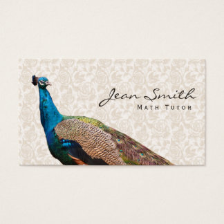 Vintage Peacock Floral Math Tutor Business Card