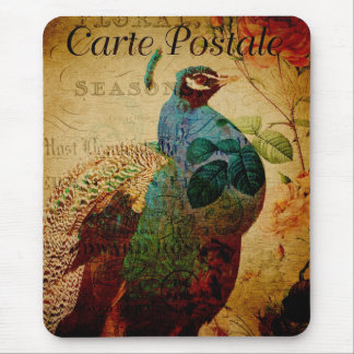 Vintage Peacock Floral Mouse Pad