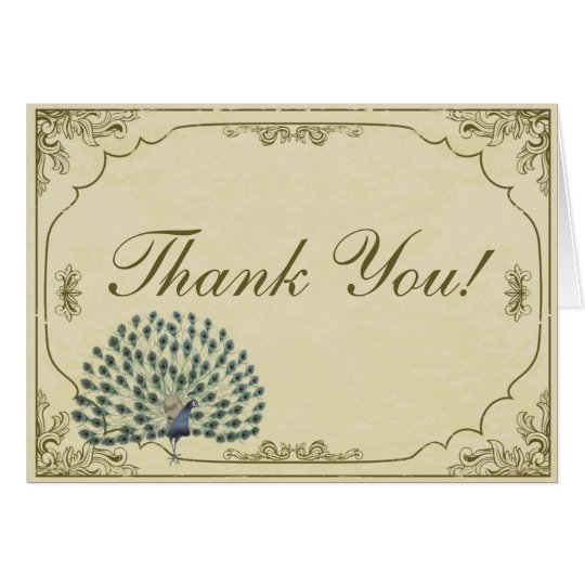 Vintage Peacock Folded Wedding Thank You Card