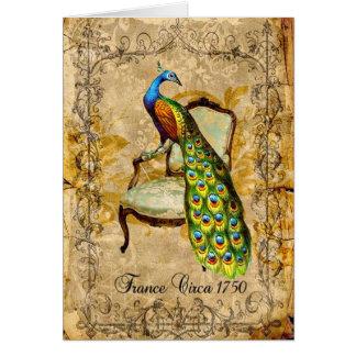 Vintage Peacock Image Greeting Card
