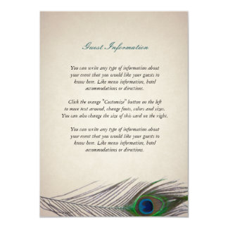 Vintage Peacock Information Card 11 Cm X 16 Cm Invitation Card