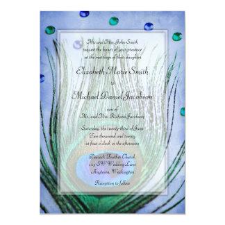 Vintage Peacock Jewels Blue Wedding Card