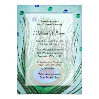 Vintage Peacock Jewels Teal Blue Bridal Shower 11 Cm X 16 Cm Invitation Card