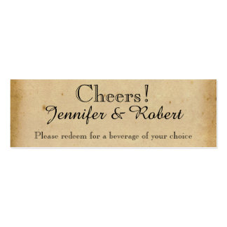 Vintage Peacock Monogram Wedding Drink Tickets Business Cards