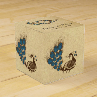 Vintage Peacock Monogram Wedding Favor Box
