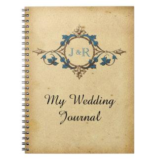 Vintage Peacock Monogram Wedding Journal Notebook