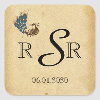 Vintage Peacock Monogram Wedding Monogram Square Sticker