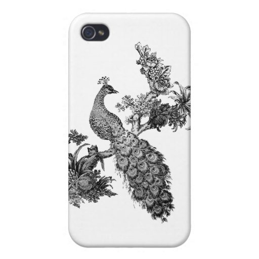 Vintage Peacock on Branch T-shirts and Gifts Cases For iPhone 4
