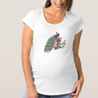 Vintage Peacock on cage Maternity T-Shirt