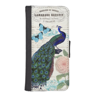 Vintage Peacock on French Ephemera Collage iPhone SE/5/5s Wallet Case