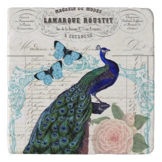Vintage Peacock on French Ephemera Collage Trivet