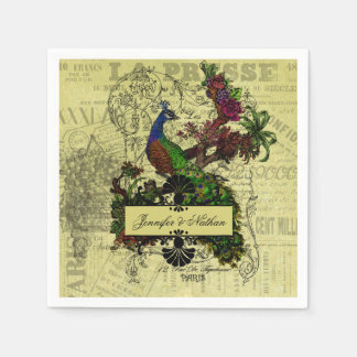 Vintage Peacock Personalized Wedding Paper Napkins