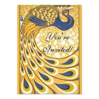 Vintage Peacock Poster Art Nouveau 11 Cm X 16 Cm Invitation Card
