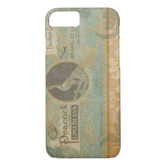Vintage Peacock Retro Advertisement in Damask iPhone 7 Case