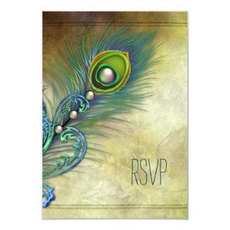 Vintage Peacock RSVP 9 Cm X 13 Cm Invitation Card