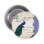Vintage Peacock Song Collage 6 Cm Round Badge