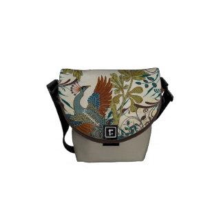 Vintage Peacock Swirl Fine Art Messenger Bag