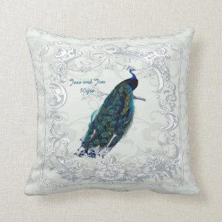 Vintage Peacock Wedding Anniversary 40th 50th 60th Cushion