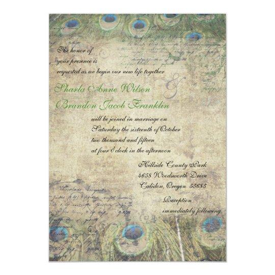 Vintage Peacock Wedding Invitation