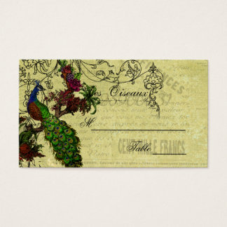Vintage Peacock Wedding Place Cards