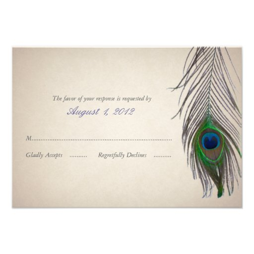 Vintage Peacock Wedding Response Card Personalized Invites