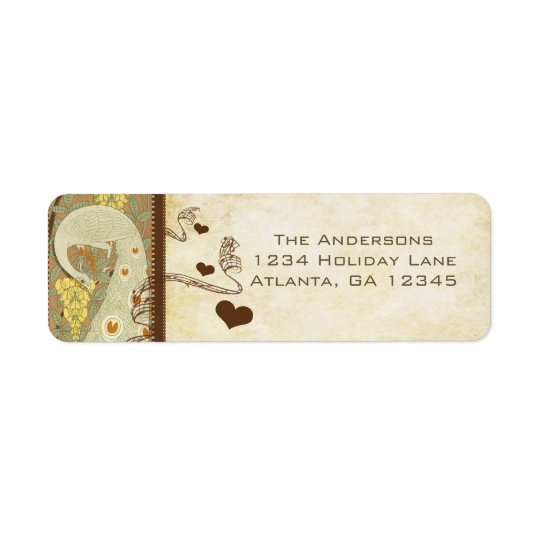 Vintage Peacock Yellow Coral and Grey Lablels Return Address Label